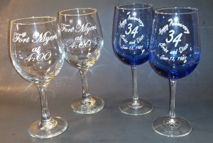 Misc - Wine Glasses - Blue and Clear